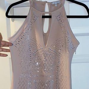 nude rhinestone body on dress with slit